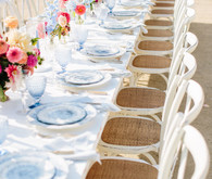 long white and floral reception tables at Greengate Ranch