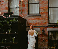 Whimsical stylish wedding in a Brooklyn brownstone
