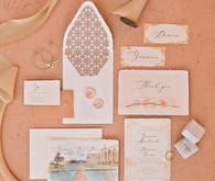 Blush and terracotta wedding invites