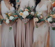 pastel bridesmaids in the desert