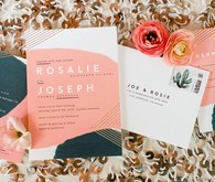 Modern coral wedding invitations