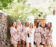 Pink floral matching bridesmaid robes
