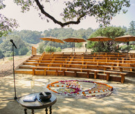 outdoor ceremony space in the Anderson Valley with a floral mandala