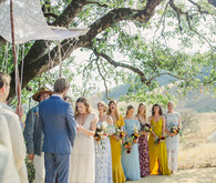 Ceremony with handmade chuppah and floral mandala