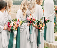 grey bridesmaids dresses with shawls and jewel tone bouquets