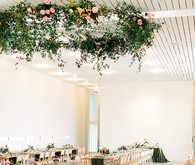 floral ceiling wreath wedding