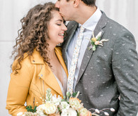 mustard leather jacket for the bride
