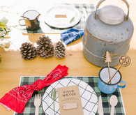 Camp-themed place settings