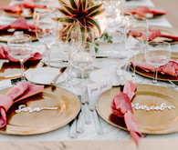 Gold and pink place settings