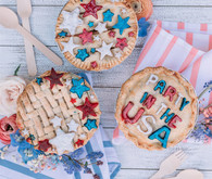 Red, white, and blue pies