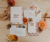 70s inspired wedding invitations
