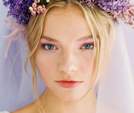 Purple bridal headpiece