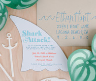 Shark themed birthday invitation