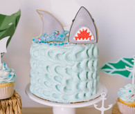 Shark themed birthday cake