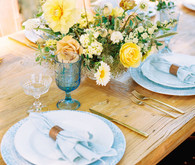 Yellow and blue tablescape
