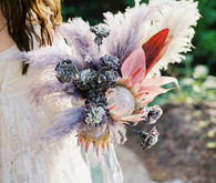 Dyed floral bridal bouquet