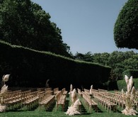 Wedding ceremony with pampas grass