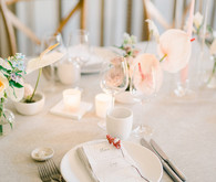 White and pink place settings