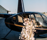 Helicopter with floral arrangement
