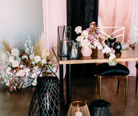 Acrylic pink + black + gold wedding decor