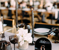 Black, gold, and pink wedding