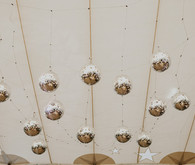 Disco balls in wedding tent
