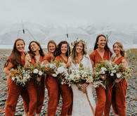 Bridesmaid linen jumpsuits