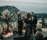 Confetti at wedding ceremony