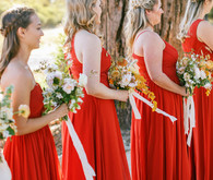 Red bridesmaids dresses for fall wedding