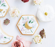 Moon themed floral sugar cookies