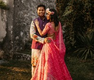 Modern indian bride and groom fashion