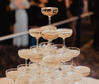 Champagne tower at wedding