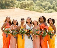 Orange and yellow bridesmaid dresses