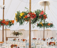 Red floral wedding tablescape