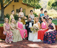 colorful formal wedding party