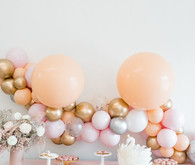 pink and peach balloon backdrop