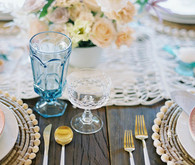 pink + blue tablescape