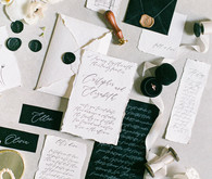 romantic calligraphed wedding invitations