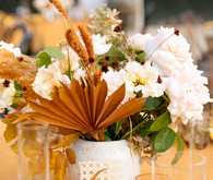 cream and rust wedding centerpiece