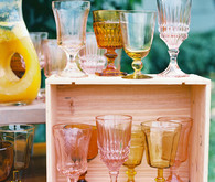 mismatched glassware for wedding