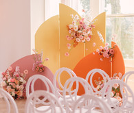 Modern color block wedding ceremony backdrop