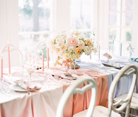 color block pastel tablescape