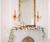 soft spring flowers on mantel