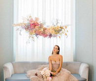 floating pink floral installation