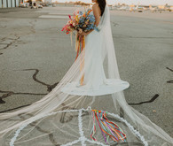 peace sign bridal veil