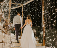 wedding reception tunnel of lights