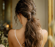 tousled long hair bridal hairstyle