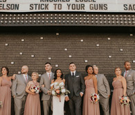 dusty pink and gray wedding party fashion