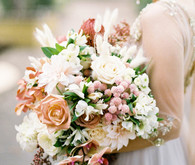 Romantic peach wedding bouquet