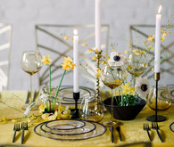 yellow and green spring wedding tablescape